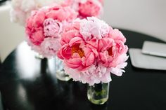 Coral and Blush Pink Peony Bridesmaids Bouquets |  Waldorf Astoria | Pen Carlson Photography | Sweetchic Events. Vale of Enna |