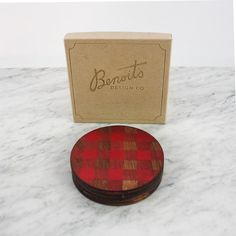 Benoit's Design Co. Laser Engraved Buffalo Plaid Birch Wood Coaster. Sold in a set of four, gift box included.