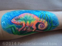 Chameleon arm painting by Gretchen Fleener www.Paintertainment.com