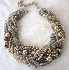 Chunky Pearl & Rhinestone Necklace Huge Bridal Statement Necklace For Vintage Wedding (Tom Binns Inspired). $248.00, via Etsy.