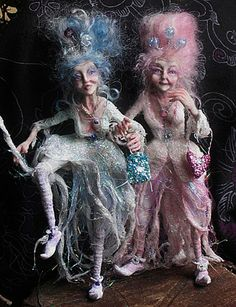 OOAK Doll Duo Fantasy Sculpture - Gladrag Sisters-This is going to be a representation of me in my old age-still wearing costumes! Clay Dolls, Bjd Dolls, Marie Antoinette, Paperclay, Creepy Dolls, Little Doll, Fairy Dolls, Clay Art, Faeries