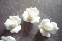 Sweet White Ceramic Rose Flower Flat Back 11mm Cabochons Qty 6. $3.99, via Etsy.