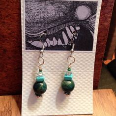 Jade And Turquoise Earrings.