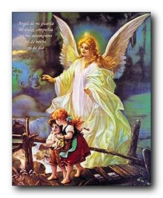 Liven up your kid's bedroom with this wonderful Guardian angel with children on bridge religious and spiritual art print poster. This poster captures the image two cute kids's passed over the bridge and a beautiful angel behind the kid's makes this wall art focal point of your home. This poster is sure to put a smile on your kid's face for sure. Your kid's will definitely enjoy by viewing this wall art as a part of their home. It would be a perfect addition for your little princess bedroom.