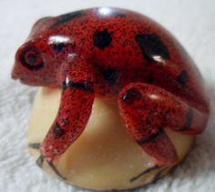 Wounaan Embera Poison Dart Frog Tagua Carving Art-Panama 15103015L