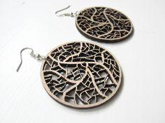 Earrings / earcuffs - laser cut wooden earrings - Leave nerves