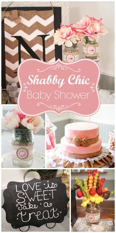 Such a gorgeous shabby chic bridal shower with mason jars, flowers and a stunning burlap decorated cake!  See more party ideas at CatchMyParty.com!