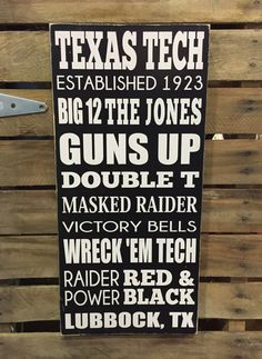 Texas Tech Hand Painted Wood Sign Subway by BasementWorkshop1