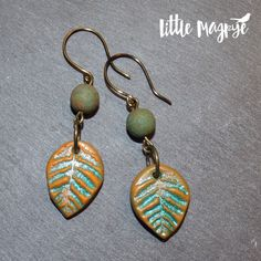 Turquoise green and orange polymer clay leaf earrings