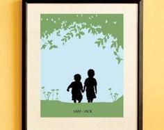 Children's Silhouette Art Print, Kids Nursery Room Decor, Name Print, Custom Wall Hanging - Walk with Me