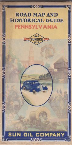 cover of 1930s Sun Oil Company Pennsylvania road map and historical guide