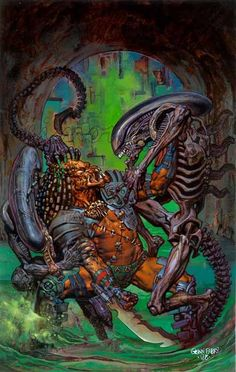 "pixelated-nightmares: ""Aliens vs Predator by GlennFabry """