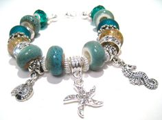 Beach Beaded Bracelet with Large Hole Beads by BrankletsNBling, $29.00