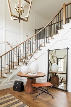 Home Interior White the best Trader Joes f… – Decorating Foyer Entry Stairs, Entry Foyer, Entryway Round Table, Curved Staircase, Staircase Design, Foyer Staircase, Interior Staircase, Studio Mcgee, Staircase Remodel