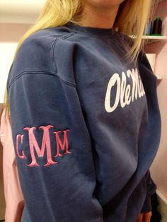 monogrammed sleeve on a college sweatshirt; sorority monogram on the other sleeve would be too cute