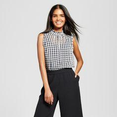 Women's Ruffle Trim Shell - Who What Wear Black Plaid Xxl