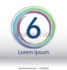 "cool color circle brush stroke ""6"" number logo"