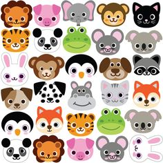 30 Animal Emoji Fabric Wall Decals, Removable and Reusable Eco-friendly Wall Stickers – Products – Kreativ Emoji Stickers, Wall Stickers, Vinyl Decals, Emoji Plus, Emoji Fabric, Felt Crafts, Paper Crafts, Animal Faces, Animal Crafts