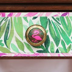 Flamingo Themed Vintage American Oak side Table | Recover Team National Lottery, Shop Up, Gold Gilding, Decoupage Paper, Opening Day, Upcycled Furniture, Household Items, Flamingo, Charity
