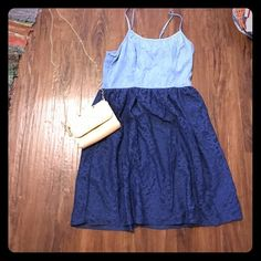 Jean and Lace Dress Fabulous Jean and lace dress that looks perfect paired with wedges and any jewelry. Mossimo Supply Co. Dresses