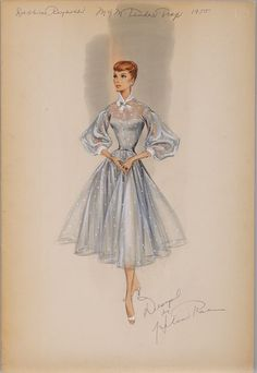 Helen Rose costume sketch of Debbie Reynolds for The Tender Trap. Helen Rose costume sketch of Debbi Vintage Fashion Sketches, Illustration Mode, Fashion Illustration Sketches, Fashion Design Sketches, Fashion Drawings, Portrait Illustration, Art Illustrations, Helen Rose, Vintage Dress Patterns