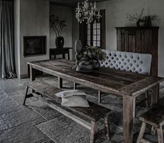 Edda Interior Design: New great competition! Win great chair from Hoffz! Dark Interiors, Rustic Interiors, Dining Room Inspiration, Interior Inspiration, Dining Furniture, Home Furniture, Castle Stones, Kitchen Hearth Room, Lightroom