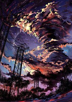 Обои для iPhone. | VK Anime Scenery Wallpaper, Wallpaper Backgrounds, Fantasy Landscape, Landscape Art, One Punch Man Wallpapers, Yuumei Art, Animes Wallpapers, Aesthetic Art, Amazing Art