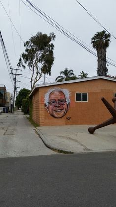 2016 American Presidential Candidate Bernie Sanders Bust by Local Famous Venice StreetArtist Jules Muck @muckrock on this house at 6th Ave. & Westminster Ave. in The WestSide Los Angeles Neighborhood of Venice (Venice Beach), California.