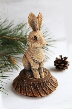 Wooden Rabbit Statue  Wood Carving Wooden Rabbit Figurine