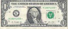 Dollar Bill Star Note Fancy Serial Number 10071333 * - Star Note *