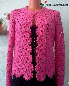 Bright pink ribbon crochet lace jacket