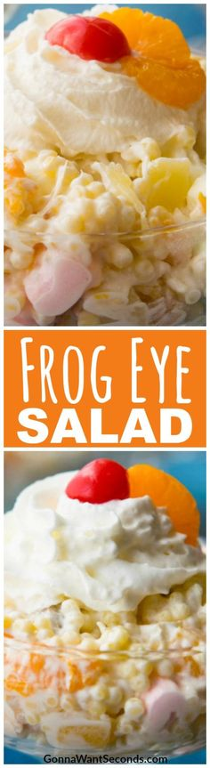 Frog Eye Salad is a Sweet, Fruity, Fluffy Dessert Salad That is a Potluck Classic. Our recipe is Extra Fruity, Utilizes Instant Pudding and Cool Whip to Make a Delicious Salad That Doesn't Require A Lot of Extra Work, and Has Just the Right Amount of Goodies to Make it a Favorite of Kids of All Ages! #Recipe #Easy #Pudding #Tapioca #Best #Pasta