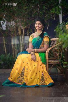 Yellow half saree Indian Bridal Wear, Indian Wedding Outfits, Indian Outfits, Indian Wear, Half Saree Designs, Bridal Blouse Designs, Lehenga Designs, Half Saree Lehenga, Bridal Lehenga