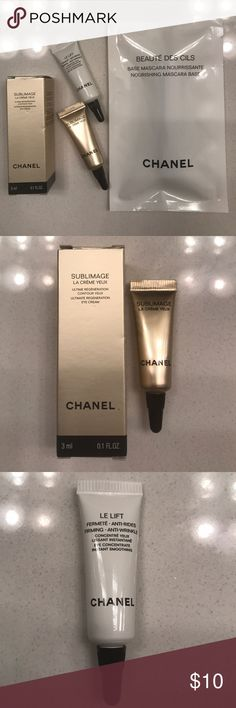 Chanel Set #3 Chanel set comes with THREE items:   1. Beaute Des Cils nourishing mascara base (no color) 0.03 fl oz 2. Sublimage ultimate regeneration eye cream 0.1 fl oz 3.le Lift firming anti wrinkle eye cream 0.1 fl oz. All items are sample sizes. Perfect for travel or for testing these products before purchasing full size. Brand new, never opened. CHANEL Makeup