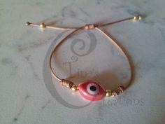 Red porcelain evil eye bracelet brown cord tinas creations 15cm 5.9 inch gp bead #TinasCreations #evileyeadjustablebracelet