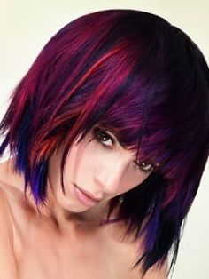 pink and purple bob hairstyle