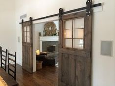 DIY barn door can be your best option when considering cheap materials for setting up a sliding barn door. DIY barn door requires a DIY barn door hardware and a The Doors, Windows And Doors, Entry Doors, Patio Doors, Front Entry, Garden Doors, Garage Entry, Entryway, Barn Door Window