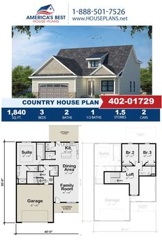 If you love the Country design you'll love Plan 402-01729 featuring 1,840 sq. ft., 3 bedrooms, 2.5 bathrooms, a loft, a covered porch, and a kitchen island. Visit our website for more information about this Country design.
