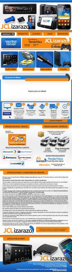 Cliente JCLizarazo. Venta de celulares, consolas, artículos del hogar entre otros productos variados. Creación 2013 / Diseño elaborado por iGrafi. Visítanos: www.igrafi.com