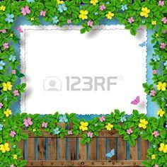cornice per il messaggio di saluto o di congratulazione con ghirlanda di fiore  Archivio Fotografico