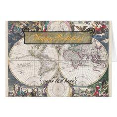 Nova Totius Terrarum Orbis Tabula - Happy Birthday Card - click/tap to personalize and buy
