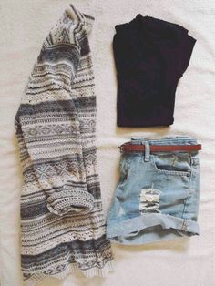 Sweater, crop top, & high-waisted shorts. Loving this sweater!  Want it to wear over my crop top :D