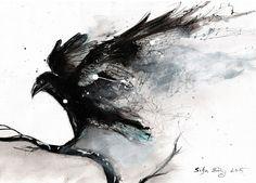 Abstract raven painting by DoodleWithGlueGun.deviantart.com on @DeviantArt