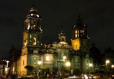 Arquitectura, catedral, mexico, df, centrohistorico, noche, Architecture, cathedral, night