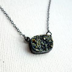 Rectangular Green Druzy Necklace