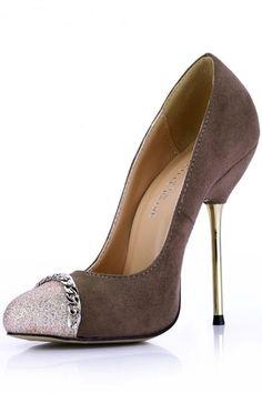 Sapatos de Salto Camurça Dedo do pé fechado Estilo Elegante Material do sequin