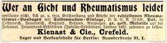 Original-Werbung/ Anzeige 1898 - RHEUMATISMUS BANDAGEN / KIENAST - CREFELD - ca…