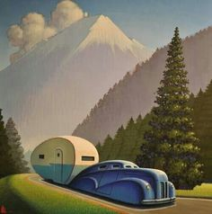 Art Deco graphic poster art design for lovers of the open road , caravans and summer camping.