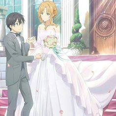 Asuna and Kirito yassssss they finally get married yasssss Arte Online, Kunst Online, Online Art, Sao Kirito And Asuna, Sao Ggo, Star Wars Party, Yui Sword Art Online, Manga Anime, Sword Art Online Wallpaper