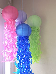 Jellyfish Paper Lanterns Set of 4 by CreateItGirl on Etsy, $36.00